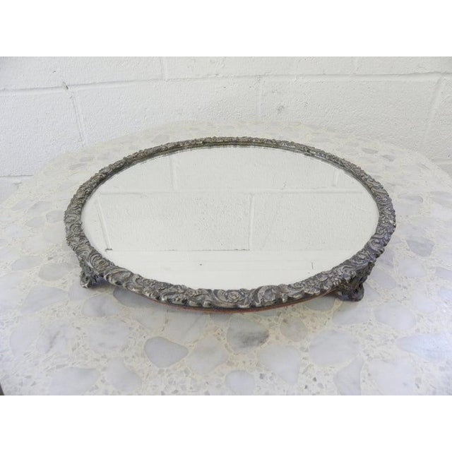 Hollywood Regency Vintage Mid Century Silver Mirror Dressing Vanity Tray For Sale - Image 3 of 7