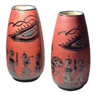 20th Century Asian Modern Carved Ceramic Vases - a Pair For Sale