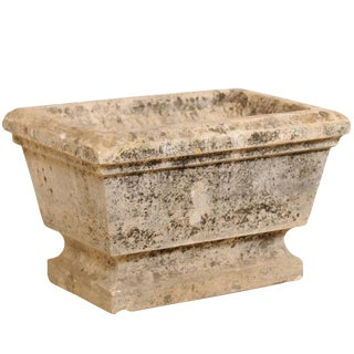 European Hand-Carved Rectangular Stone Planter With Chamfered Edges For Sale