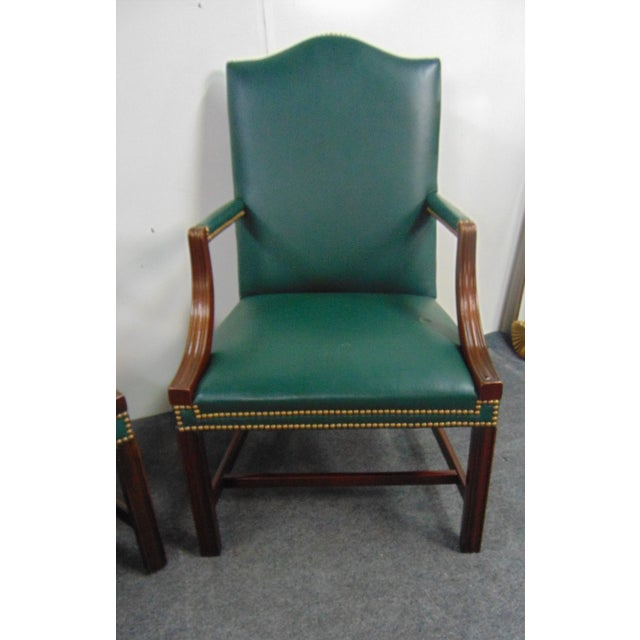 Late 20th Century Hickory Chair Co Mahogany Leather Library Chairs - a Pair For Sale - Image 5 of 9
