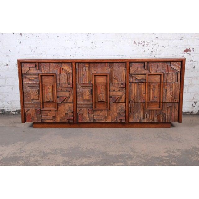 "An exceptional Paul Evans style mid-century modern brutalist long dresser or credenza By Lane Furniture ""Pueblo""..."