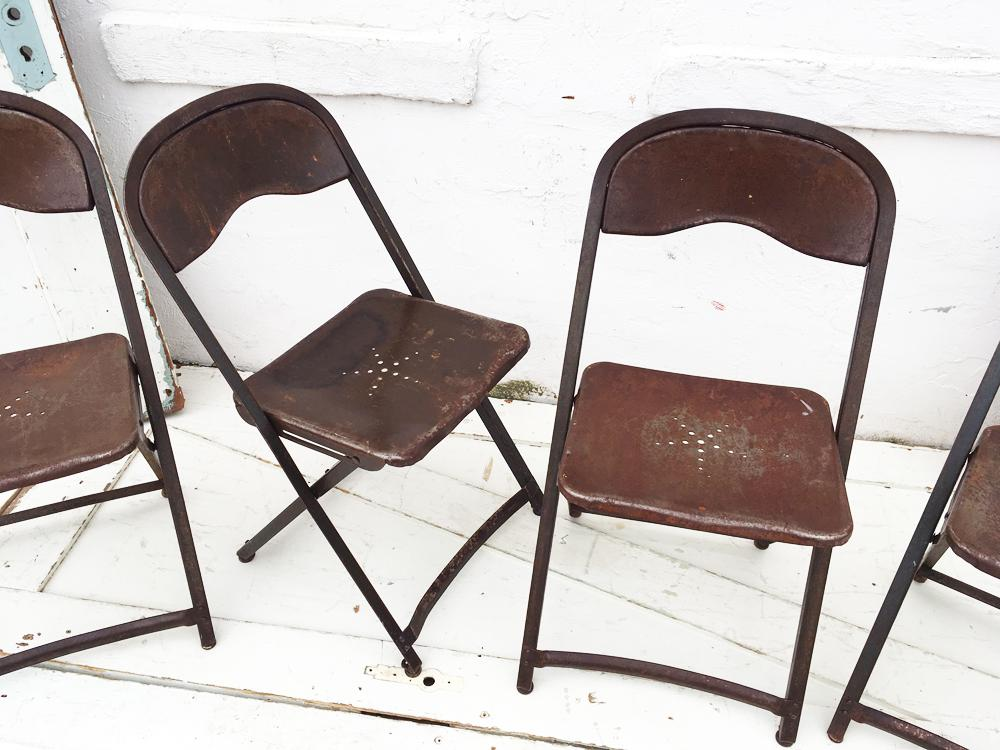 1950u0027s Metal Folding Chairs - Set of 4 For Sale - Image 4 ...  sc 1 st  Chairish & 1950u0027s Metal Folding Chairs - Set of 4 | Chairish