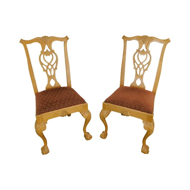 Lexington Solid Pine Chippendale Style Ball & Claw Carved Pair Side Chairs For Sale - Image 13 of 13