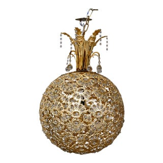 Rotating Brass Sphere Chandelier With Crystals For Sale