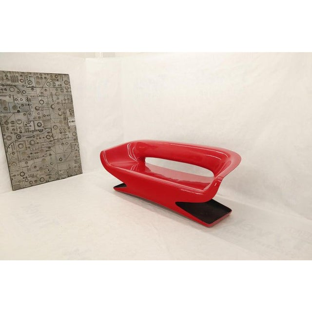 Mid-Century Modern Red Molded Fiberglass Bench Love Seat For Sale - Image 3 of 11