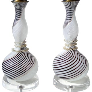 Dino Martens Aureliano Toso Murano Black White Gold Italian Art Glass Lamps - a Pair For Sale