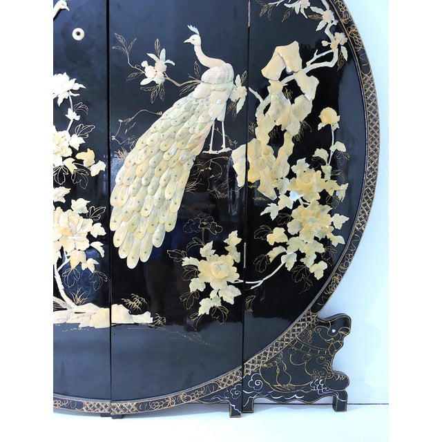 Asian Round Mid-Century Chinese Four Panel Mother of Pearl and Black Lacquer Peacock Room Divider For Sale - Image 3 of 7