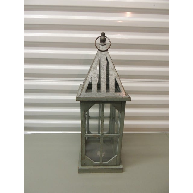 Tall Coastal Weathered Lantern For Sale - Image 4 of 5