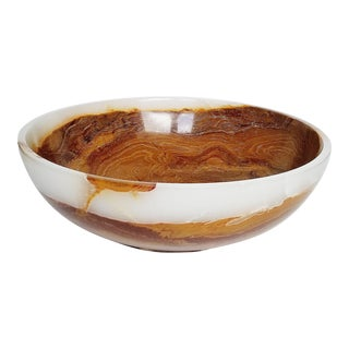 Solid Cream & Brown Pakistani Onyx Bowl For Sale