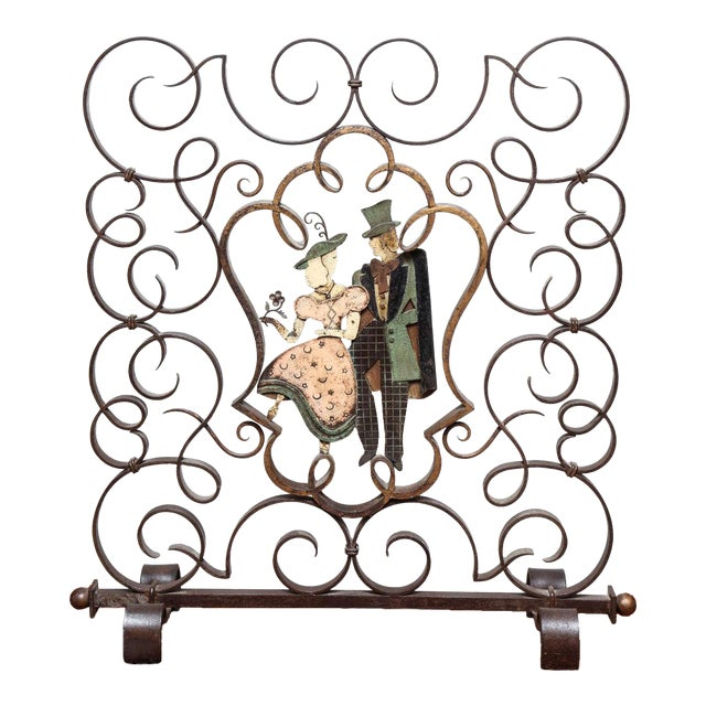 Unusual French Art Deco Figural Fire Screen For Sale