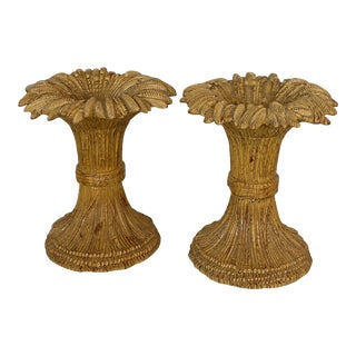 Vintage Carved Wood Sheaf of Wheat Tables and or Coffee Table - a Pair For Sale