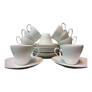 Rosenthal 'Romance' White Porcelain Tea Cups & Saucers - Set of 22 For Sale