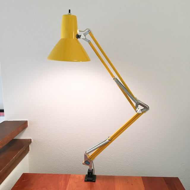 Vintage Ledu Articulating Yellow Desk Lamp Chairish
