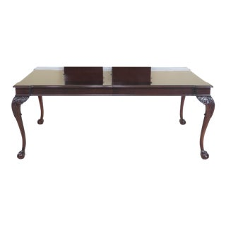 Century Ball & Claw Mahogany Dining Room Table For Sale