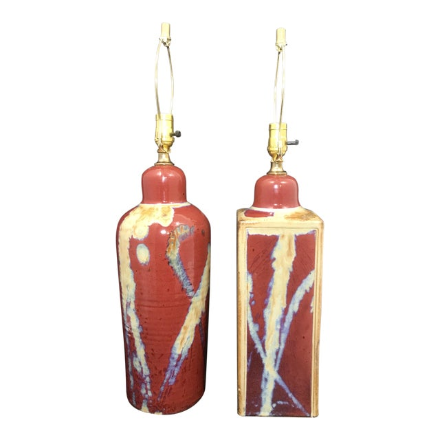 Jim Lauer Signed Studio Pottery Oxblood Drip Glazed Lamps - a Pair For Sale