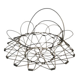Antique French Rustic Wire Basket For Sale