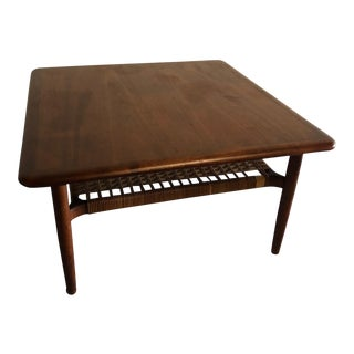 Mid-Century Modern Johannes Andersen Rattan Shelf Coffee Table For Sale