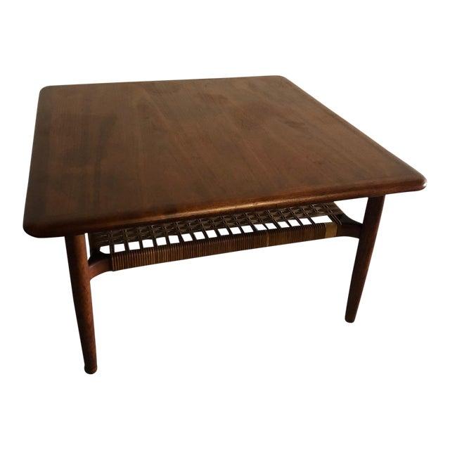 Mid Century Modern Johannes Andersen Rattan Shelf Coffee Table