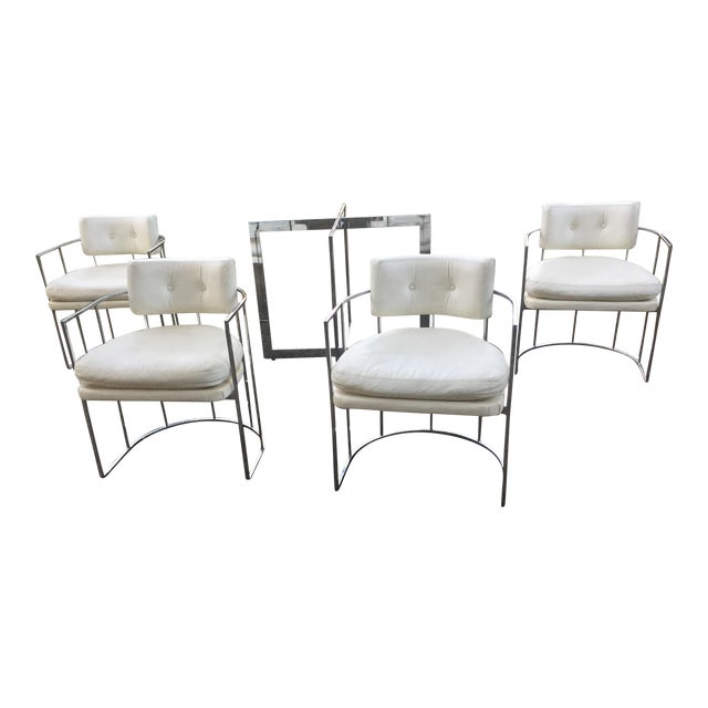 Thayer Coggin Chrome Chairs and Base - Image 1 of 11