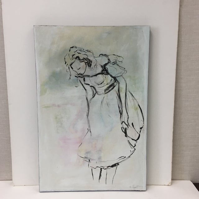 """Canvas """"Mademoiselle"""" Pastel Oil Painting For Sale - Image 7 of 7"""