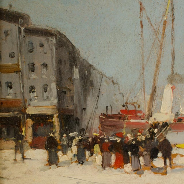 """19th Century 19th Century """"Harbor During Date"""" Maritime Oil Painting Signed A. Michel, Framed For Sale - Image 5 of 10"""