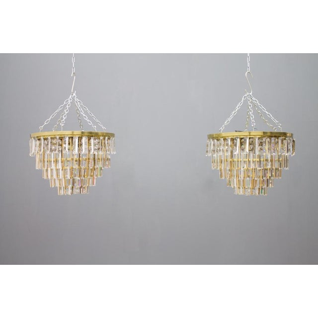 Pair of Crystal Glass Flush Mount Chandelier by Palwa, Germany, 1970s For Sale - Image 10 of 11
