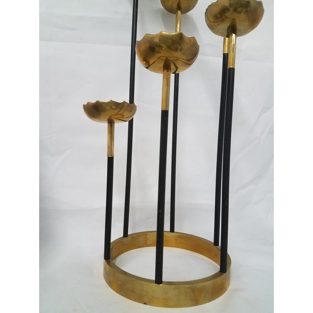 Metal Mid-Century Brass Candle Stick Holder For Sale - Image 7 of 11