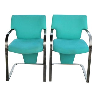 Vintage Carson's Art Deco Hollywood Regency Brass Arm Cantilever Chairs - A Pair For Sale