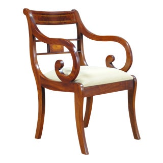 Banded Mahogany Arm Chair For Sale