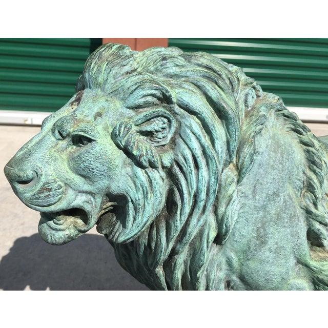 Green Paul-Edouard Delabrierre Bronze Lions - a Pair For Sale - Image 8 of 13