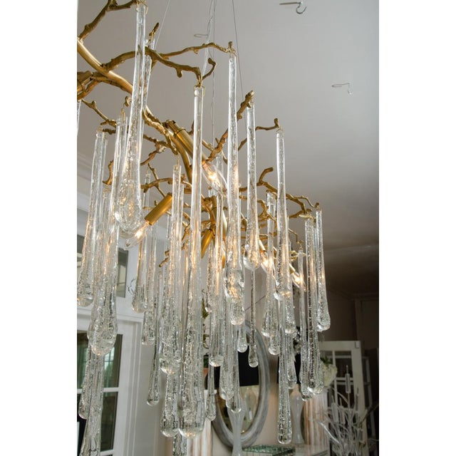 Crystal Gilt Metal Chandelier With Crystal Drops For Sale - Image 7 of 10