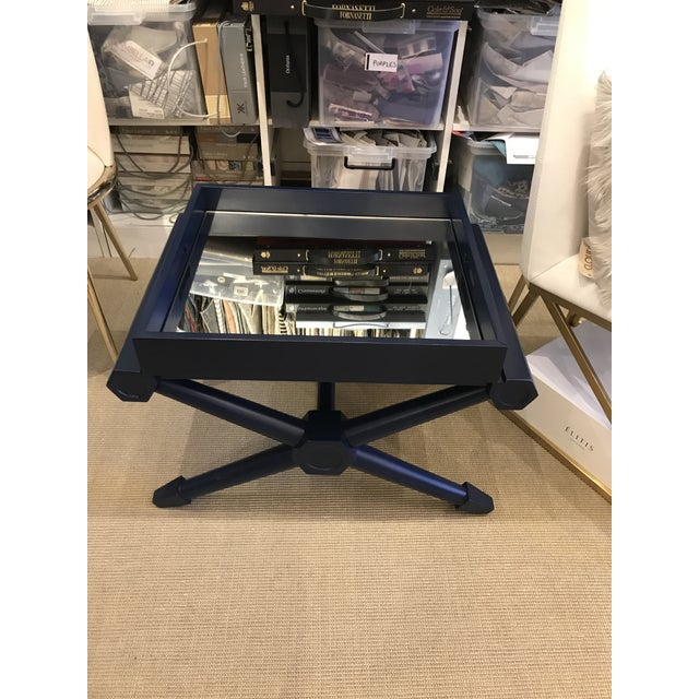 Mid-Century Modern Navy Lacquer Mahogany Pierre Mirrored Tray Table For Sale In New York - Image 6 of 6