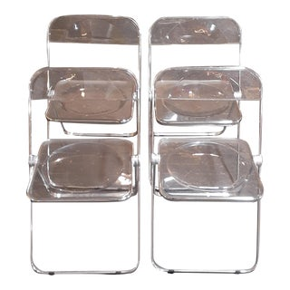 Mid 20th Century Giancarlo Piretti for Castelli Modern Plia Lucite Folding Chairs - Set of 4 For Sale