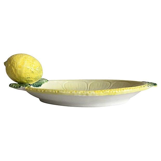 1950s Italian Majolica Lemon Platter For Sale - Image 5 of 8