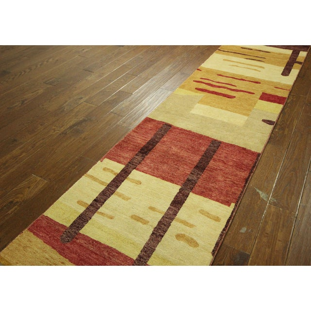 "Abstract Modern Runner Gabbeh Rug - 2'6"" x 10'1"" - Image 4 of 9"