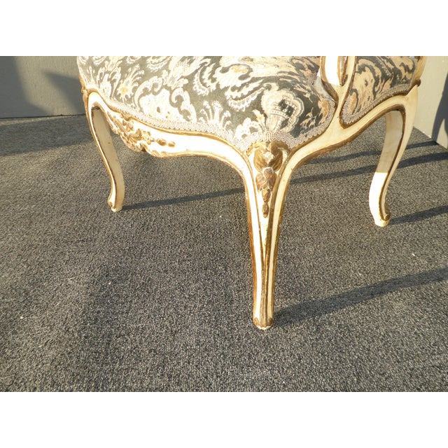 French Provincial Arm Chair With Floral Velvet Upholstery For Sale - Image 11 of 11