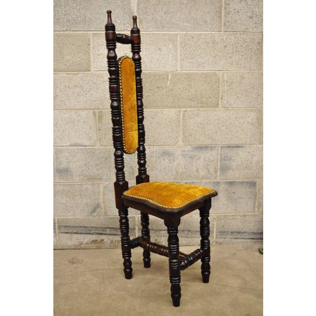 """Vintage Narrow Spanish """"Prayer"""" Hall Chair in the Renaissance Revival / Jacobean Style. Item features solid wood..."""