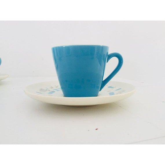 1960s Midcentury Atomic Design Blue Heaven 15 Pieces Tea Set For Sale - Image 5 of 7