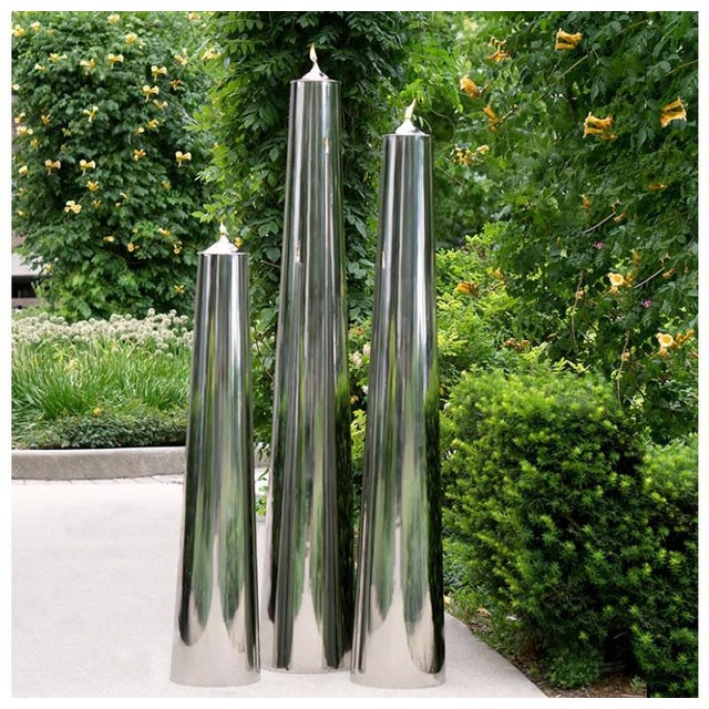Modern Stainless Steel Vases/Oil Lamps - Set of 3 For Sale - Image 3 of 5
