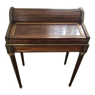 1910s Louis XVI Mahogany Roll Top Writing Desk For Sale