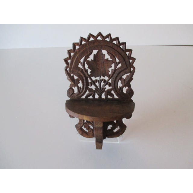 Decorative Petite Indian Carved Wood Shelf For Sale In Miami - Image 6 of 6