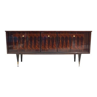 "1940s French Art Deco Macassar Ebony Mother of Pearl ""Diamond'' Inlay Sideboard / Buffet For Sale"