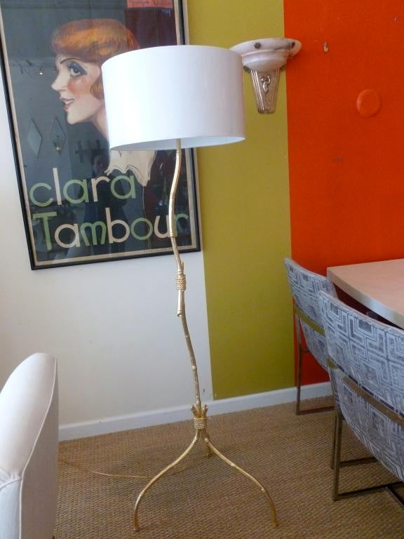 Gold Leaf Over Wood Knotched Bamboo U0026 Rope Floor Lamp   Image 5 Of 10
