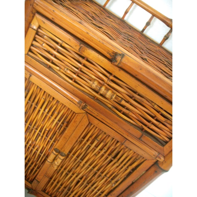 Vintage Oriental Bamboo Cane Storage Cabinet - Image 6 of 6