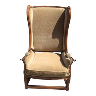 18th Century French Walnut Reclining Wingback Chair For Sale