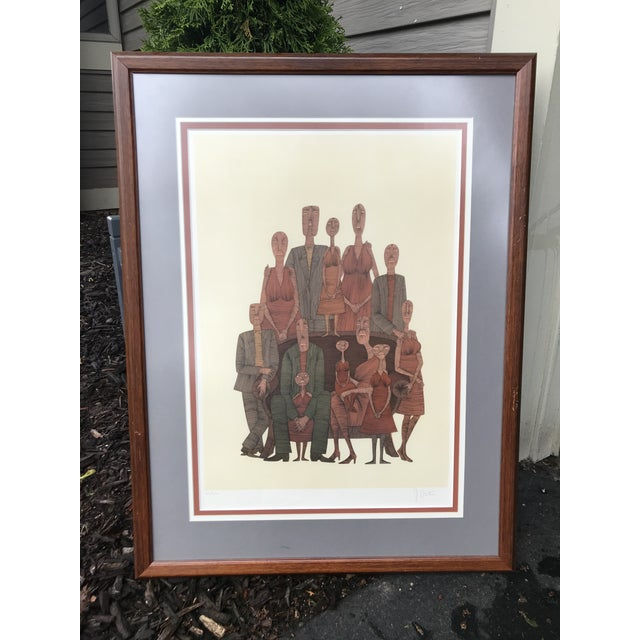 Vintage Mid-Century Abstract Family Portrait Print Block Print Lithograph Signed and Numbered For Sale - Image 10 of 10
