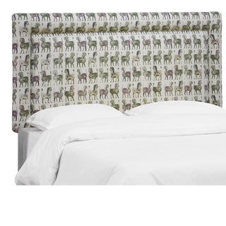 Lion Block Dark Green Oga Headboard, Full For Sale