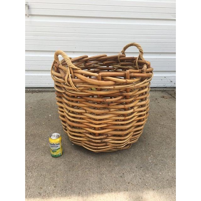 Traditional Vintage Wicker Storage Basket For Sale - Image 3 of 6