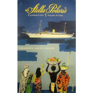 Stella Polaris Art by Donald Brun - Original 1950 French Travel Poster For Sale