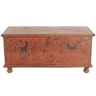 Early 19th Century Antique Primitive Red Paint Trunk For Sale